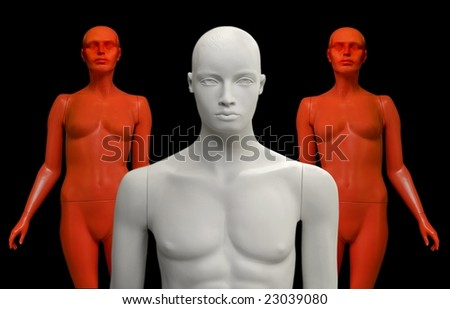 Mannequins on black background.