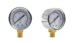Manometer or air gauge for pressure regulation in pumping station. Isolated on white background. In two different angles.