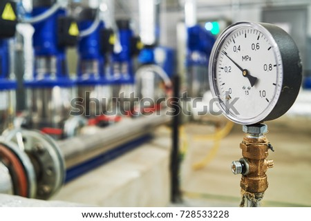 manometer pipes and valve in water pump station