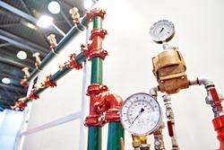 Manometer pressure gauges and sprinklers spray extinguishing system in exhibition