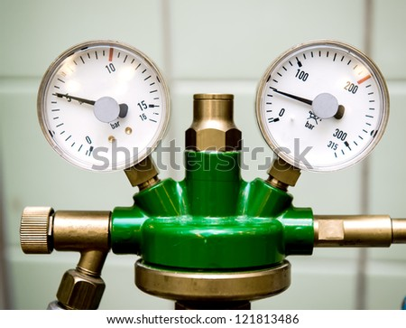 Manometer with reducer at hospital close-up