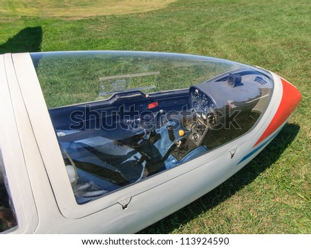 MANOTICK, CANADA - AUGUST 19: The front cockpit and control panel of a glider on August 19, 2012 at Rideau Valley Soaring in Manotick, Ontario. The club offers introductory flights to the public.