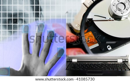 mans eye and assorted PC security images