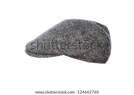 mans flat cap in grey tweed isolated on white background