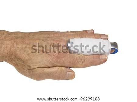 mans hand with a splint on the middle finger - stock photo