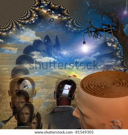 Mans head reveals maze in strange scene
