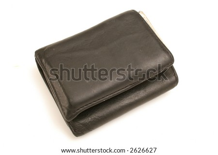mans wallet on white angle