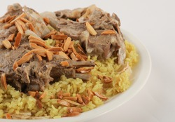 Mansaf, Jordanian national dish. Meat food rice ate Arabic food