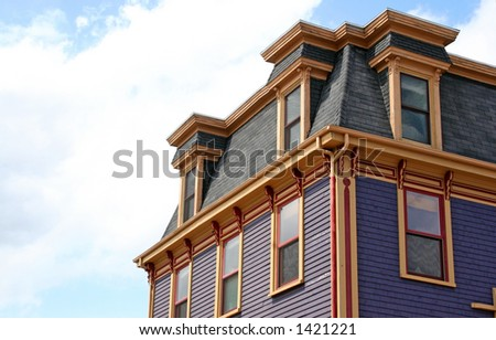 Mansard roof on an old heritage house in Lunenburg, Nova Scotia