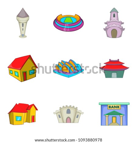 Mansion house icons set. Cartoon set of 9 mansion house icons for web isolated on white background