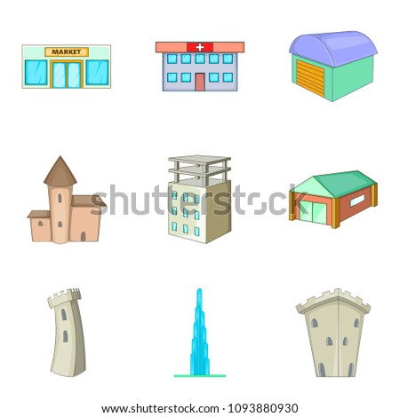 Mansion icons set. Cartoon set of 9 mansion icons for web isolated on white background