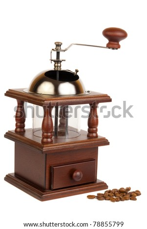 Manual coffee mill isolated on white background