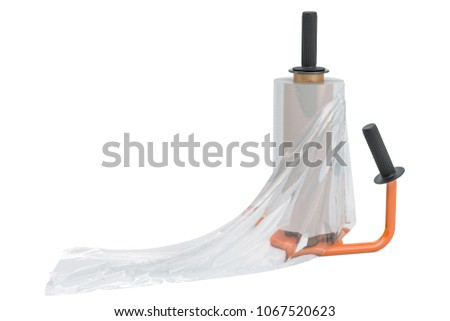 Manual film stretch wrapping machine with stretch film, 3D rendering isolated on white background
