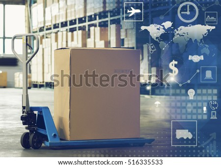 Manual forklift pallet with a big box in a large modern warehouse, logistic of things concept