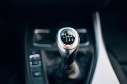Manual gearbox handle in the car