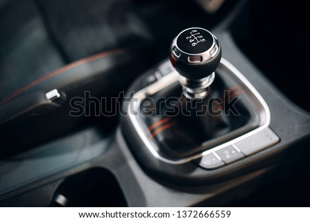 Manual gearbox handle inside the modern car Stock photo ©