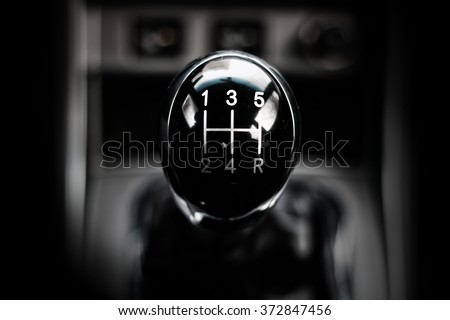 manual gearbox in the car macro black #372847456