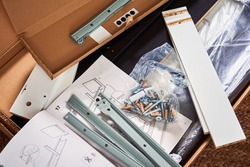 Manual instruction and details for assembling furniture, close up