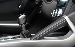 Manual shift lever in the passenger car. Manual gear shift.
