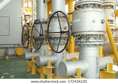 Manual valve for operating gas flow in process on oil and gas platform.