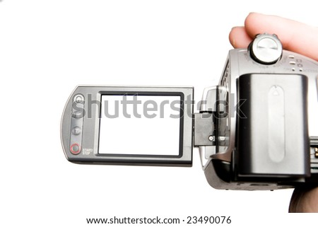 Manual video camera in human hand
