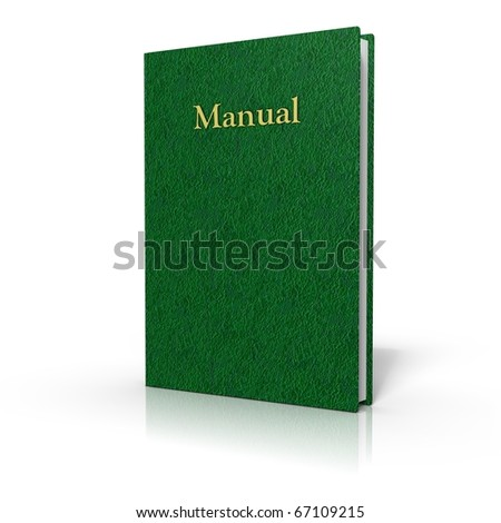 Manual with green cover on white background