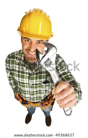 manual worker funny portrait from above on white background