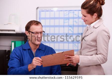 Manual worker in an office