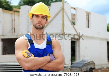 Manual worker on construction site.