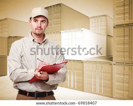 manual worker portrait and 3d container background