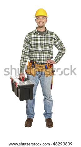 manual worker portrait with tooslbox isolated on white
