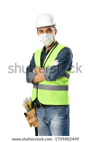 Manual worker wearing protective face mask and gloves to avoid Coronavirus epidemic isolated on white background.     Full length image