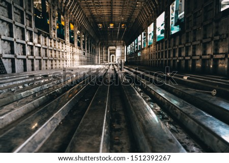 manufacture of a passenger train at a factory