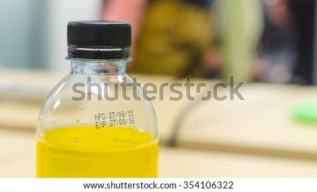 manufacturing date and expiration date on bottle surface