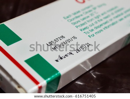 manufacturing date and expired date of medicine in thai language on paper box of medicine