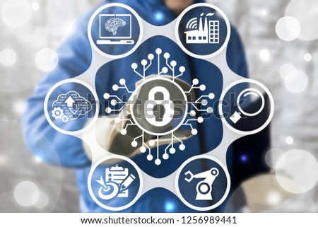 Manufacturing man pushing a padlock circuit button on a virtual screen. Cyber data security industrial concept. Digital secure engineering industry. #1256989441