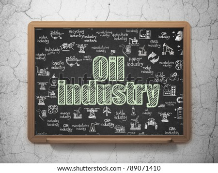 Manufacuring concept: Chalk Green text Oil Industry on School board background with  Hand Drawn Industry Icons, 3D Rendering