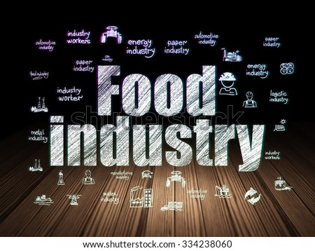 Manufacuring concept: Glowing text Food Industry,  Hand Drawn Industry Icons in grunge dark room with Wooden Floor, black background