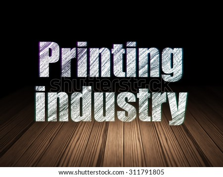Manufacuring concept: Glowing text Printing Industry in grunge dark room with Wooden Floor, black background