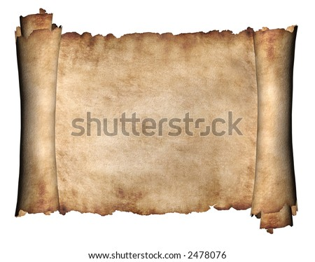 Manuscript horizontal burnt rough roll of parchment paper texture background