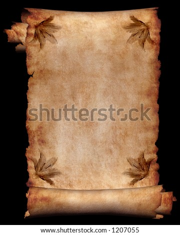 Manuscript, roll of parchment with flowers background frame - stock photo