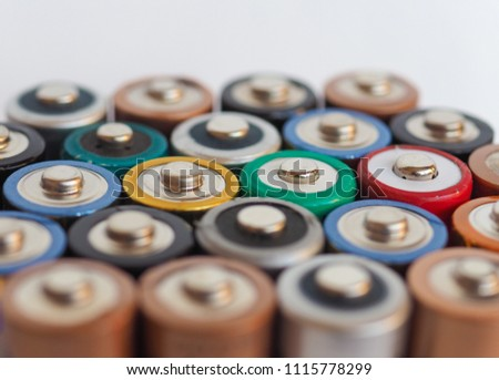 Many AA batteries (aka Double A) for electronic devices #1115778299