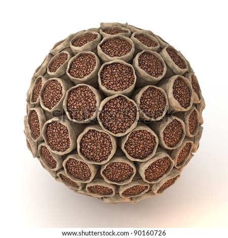 Many abstract bags of coffee beans in form of sphere isolated on white background. 3d Illustration. Close-up