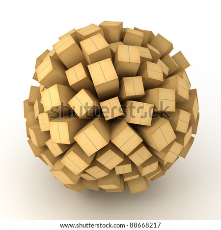 Many abstract cardboard BOXES in form of sphere isolated on white background. 3d Illustration. Close-up