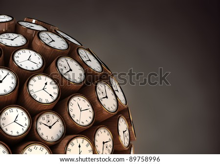 Many abstract classic wall clock watch in form of sphere isolated on black background. 3d Illustration. Close-up