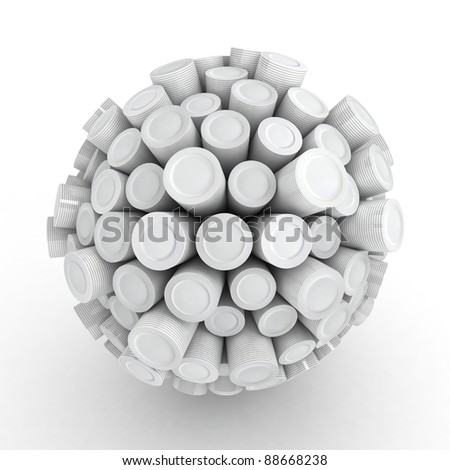 Many abstract clean Plates in form of sphere isolated on white background. 3d Illustration. Close-up
