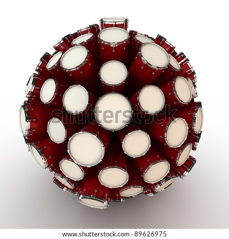 Many abstract drums in form of sphere isolated on white background. 3d Illustration. Close-up