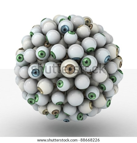 Many abstract Eyeball in form of sphere isolated on white background. 3d Illustration. Close-up