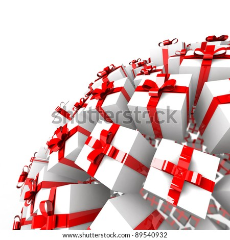 Many abstract gift boxes with red ribbons in form of sphere isolated on white background. 3d Illustration. Close-up