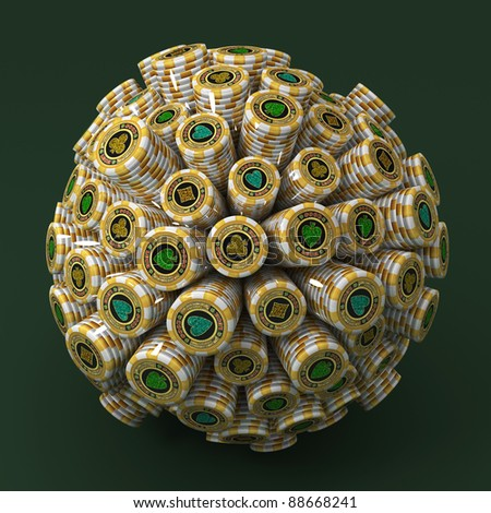 Many abstract Gold Casino Chips in form of sphere isolated on black background. 3d Illustration. Close-up